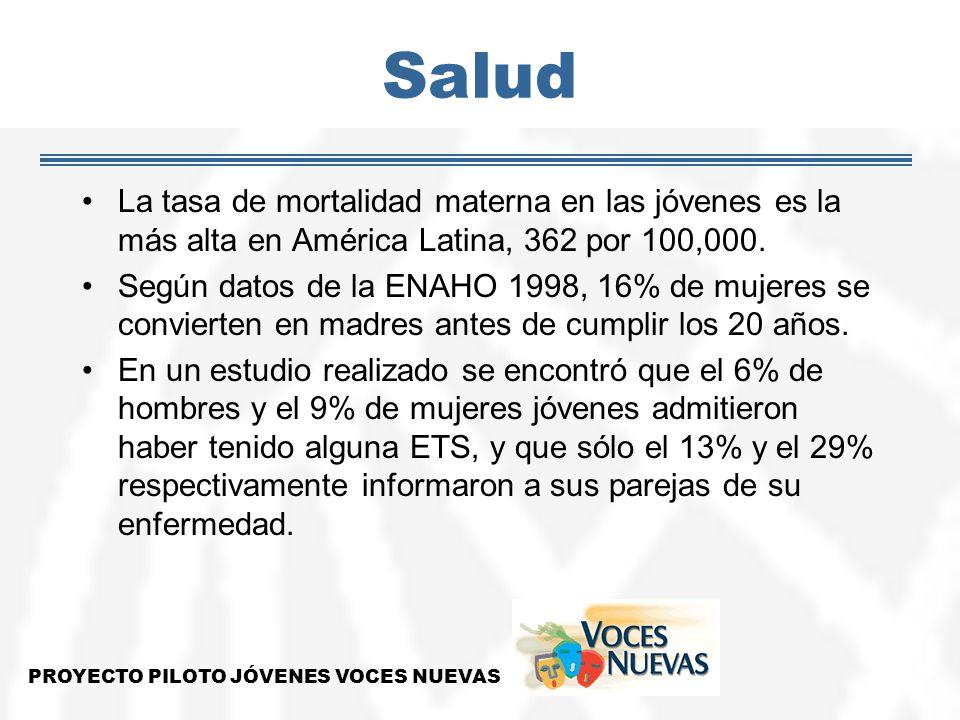 Salud La tasa de mortalidad materna en las jóvenes es la más alta en América Latina, 362 por 100,000. Según datos de la ENAHO 1998, 16% de mujeres se