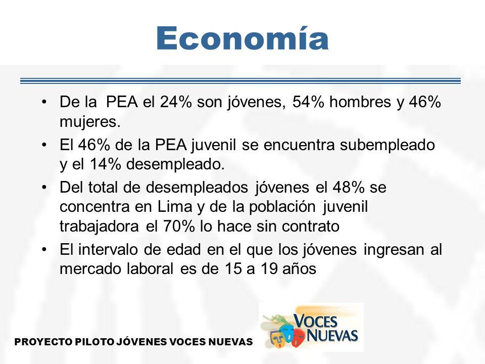 Economía De la PEA el 24% son jóvenes, 54% hombres y 46% mujeres. El 46% de la PEA juvenil se encuentra subempleado y el 14% desempleado. Del total de