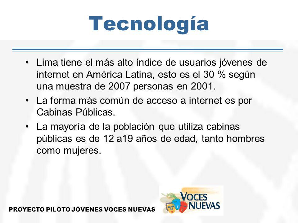 Tecnología Lima tiene el más alto índice de usuarios jóvenes de internet en América Latina, esto es el 30 % según una muestra de 2007 personas en 2001