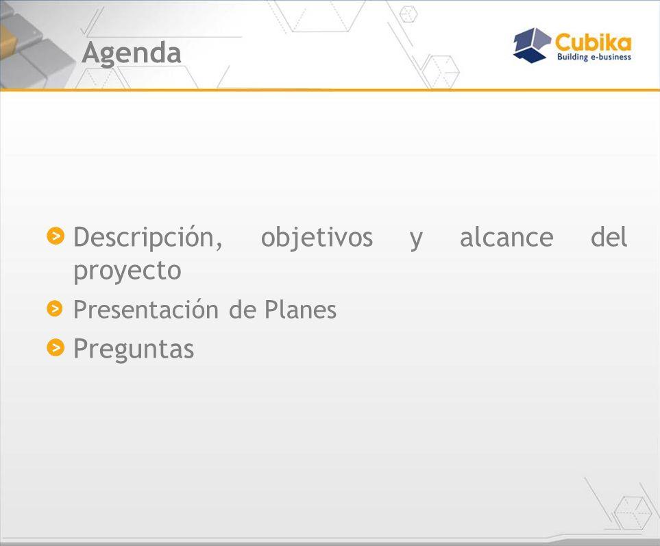 Agenda Descripción, objetivos y alcance del proyecto Presentación de Planes Preguntas