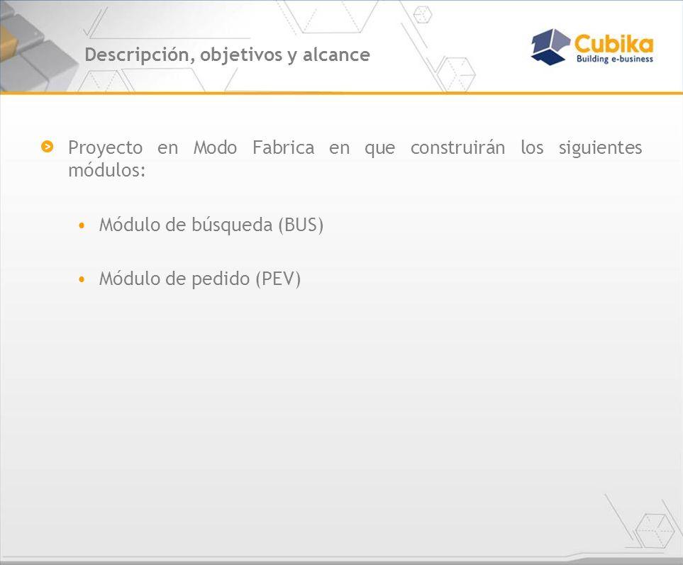 Descripción, objetivos y alcance (cont.) CARSA proveerá: Especificaciones de Casos de Uso, DER, Diagrama de análisis Documento de reglas de negocio Interfaces gráficas (EA) Cubika proveerá los siguientes servicios: Diseño de los módulos en aspectos técnicos Desarrollo de los módulos Pruebas Unitarias de los Componentes Aseguramiento de calidad Soporte de instalación de aplicación