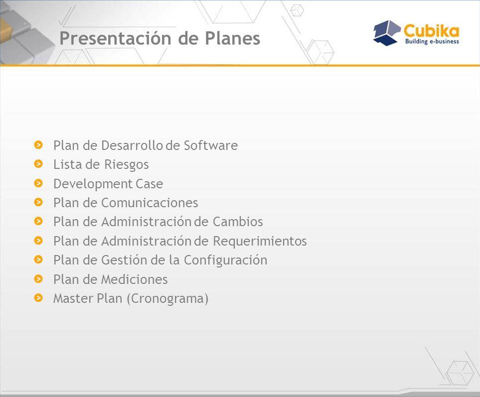 Presentación de Planes Plan de Desarrollo de Software Lista de Riesgos Development Case Plan de Comunicaciones Plan de Administración de Cambios Plan