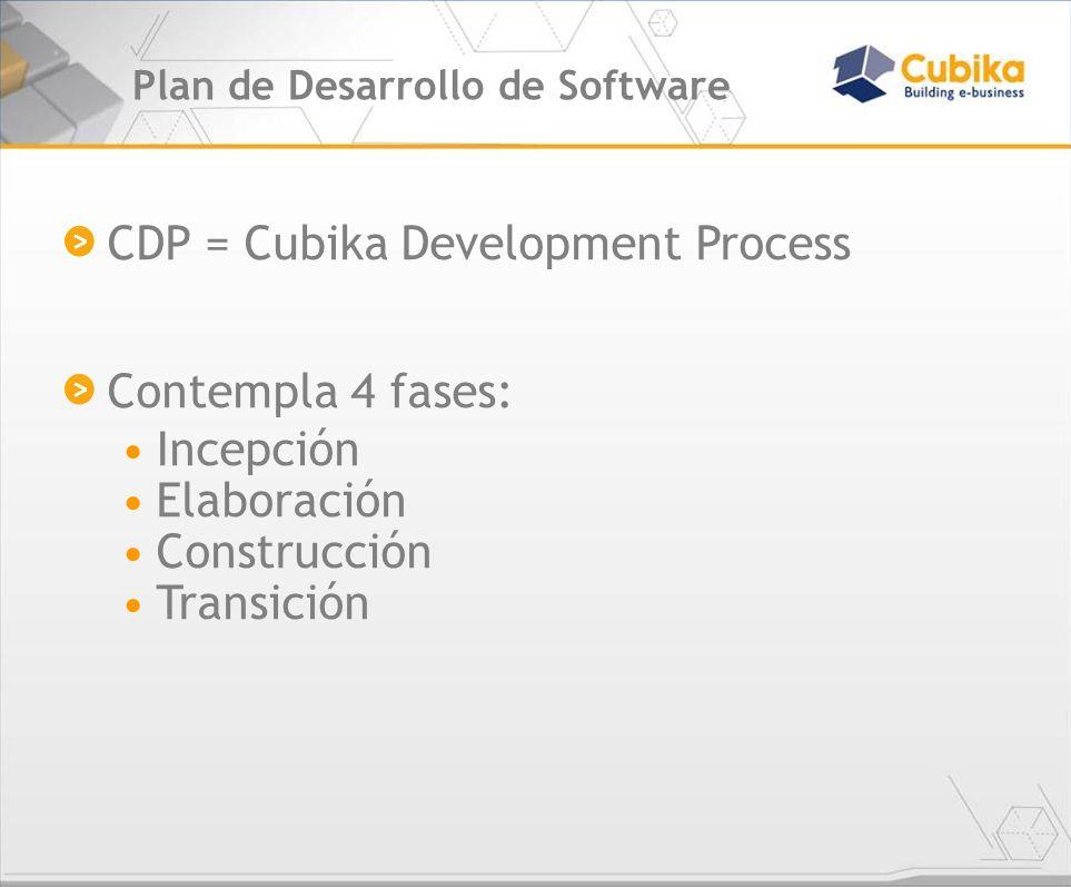Plan de Desarrollo de Software CDP = Cubika Development Process Contempla 4 fases: Incepción Elaboración Construcción Transición