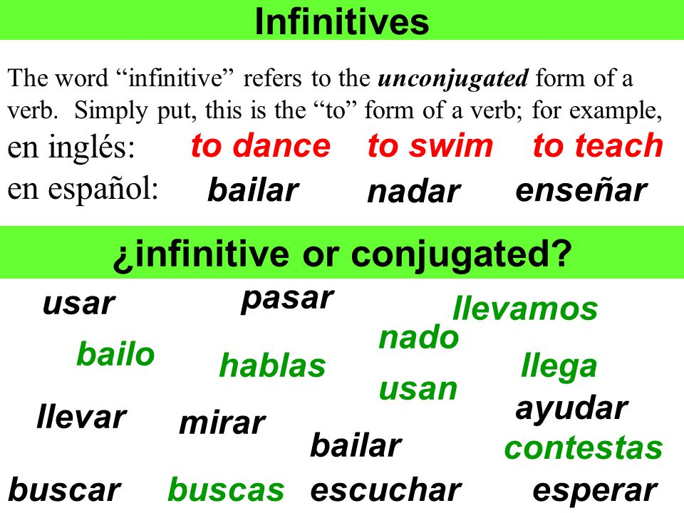 Infinitives The word infinitive refers to the unconjugated form of a verb. Simply put, this is the to form of a verb; for example, en inglés: en españ