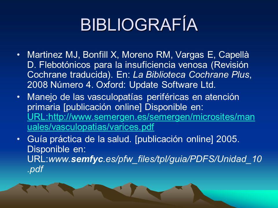 BIBLIOGRAFÍA Martinez MJ, Bonfill X, Moreno RM, Vargas E, Capellà D. Flebotónicos para la insuficiencia venosa (Revisión Cochrane traducida). En: La B