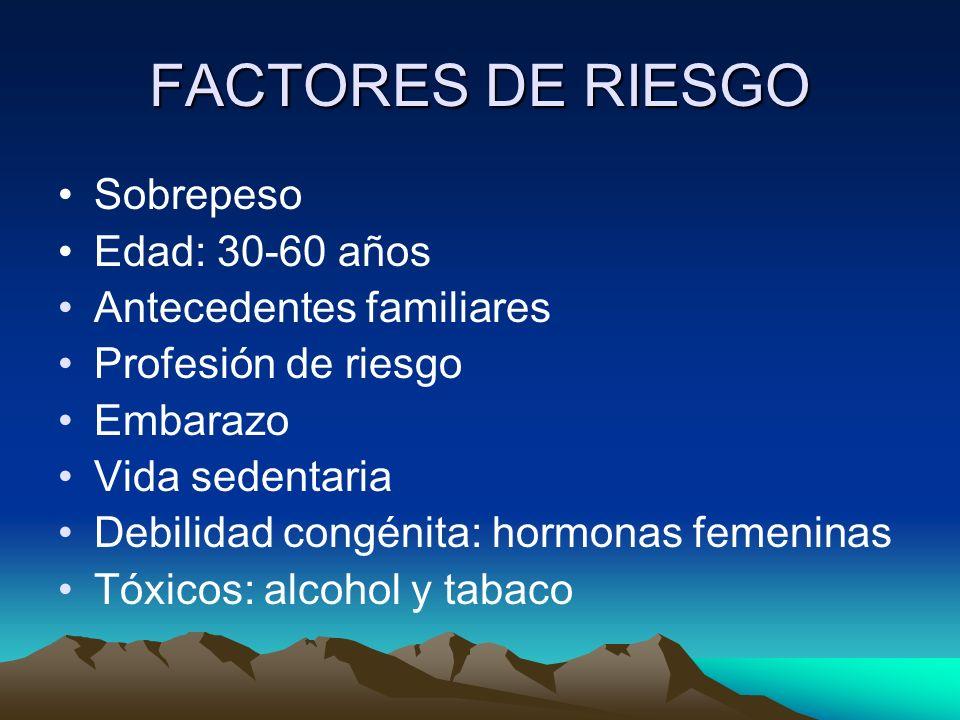 FACTORES DE RIESGO Sobrepeso Edad: 30-60 años Antecedentes familiares Profesión de riesgo Embarazo Vida sedentaria Debilidad congénita: hormonas femen