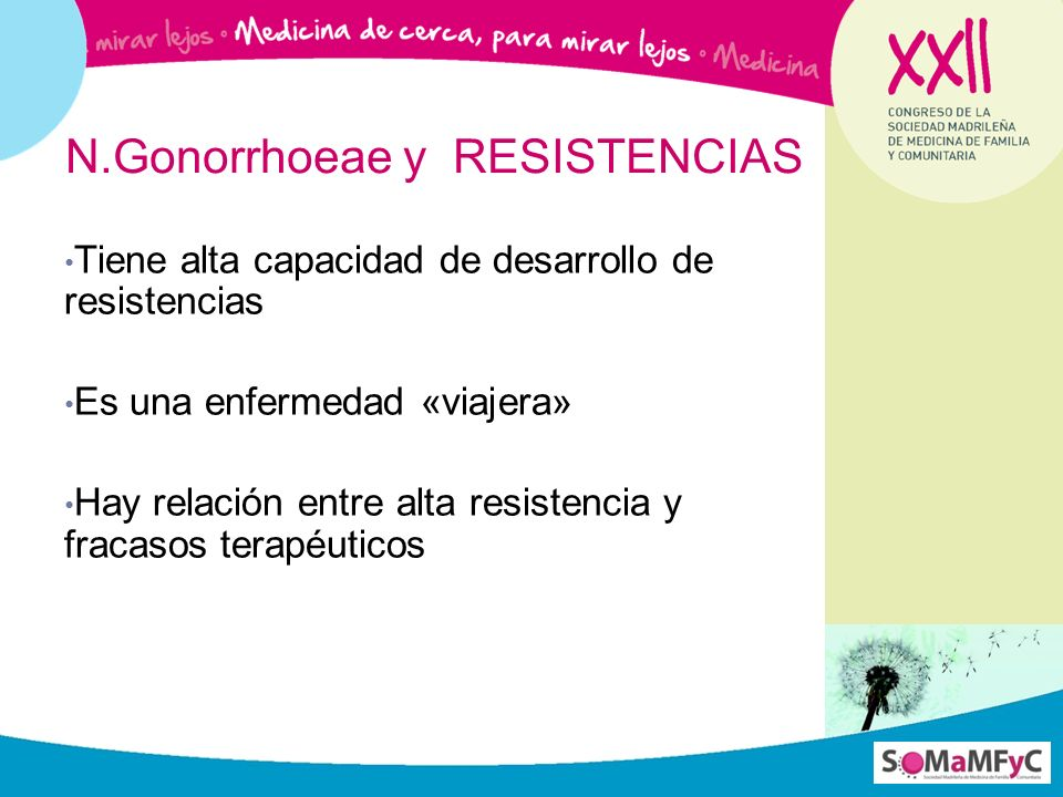 N.Gonorrhoeae y RESISTENCIAS Tiene alta capacidad de desarrollo de resistencias Es una enfermedad «viajera» Hay relación entre alta resistencia y frac