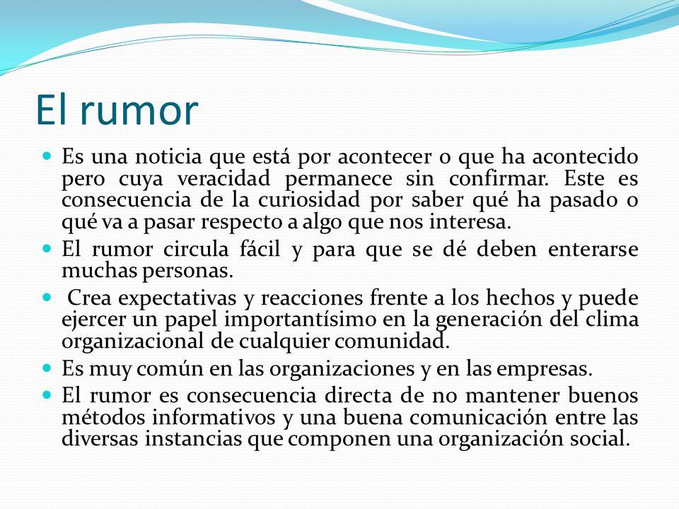 El rumor Es una noticia que está por acontecer o que ha acontecido pero cuya veracidad permanece sin confirmar. Este es consecuencia de la curiosidad