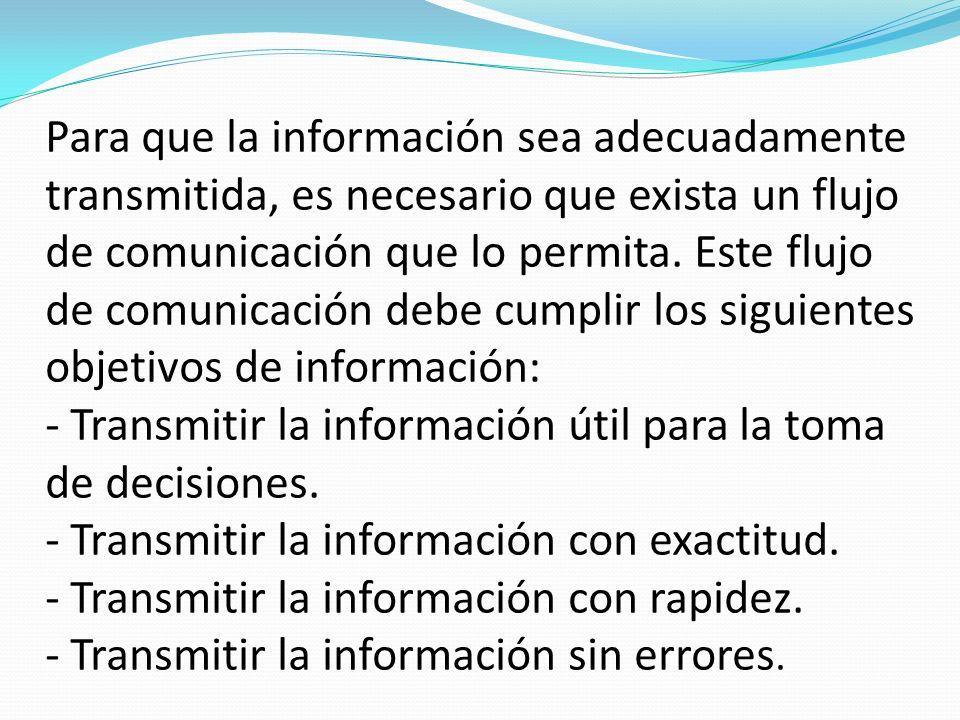 Para que la información sea adecuadamente transmitida, es necesario que exista un flujo de comunicación que lo permita. Este flujo de comunicación deb