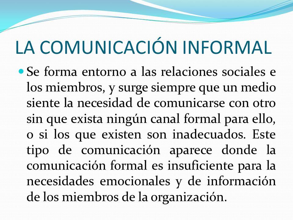 LA COMUNICACIÓN INFORMAL Se forma entorno a las relaciones sociales e los miembros, y surge siempre que un medio siente la necesidad de comunicarse co