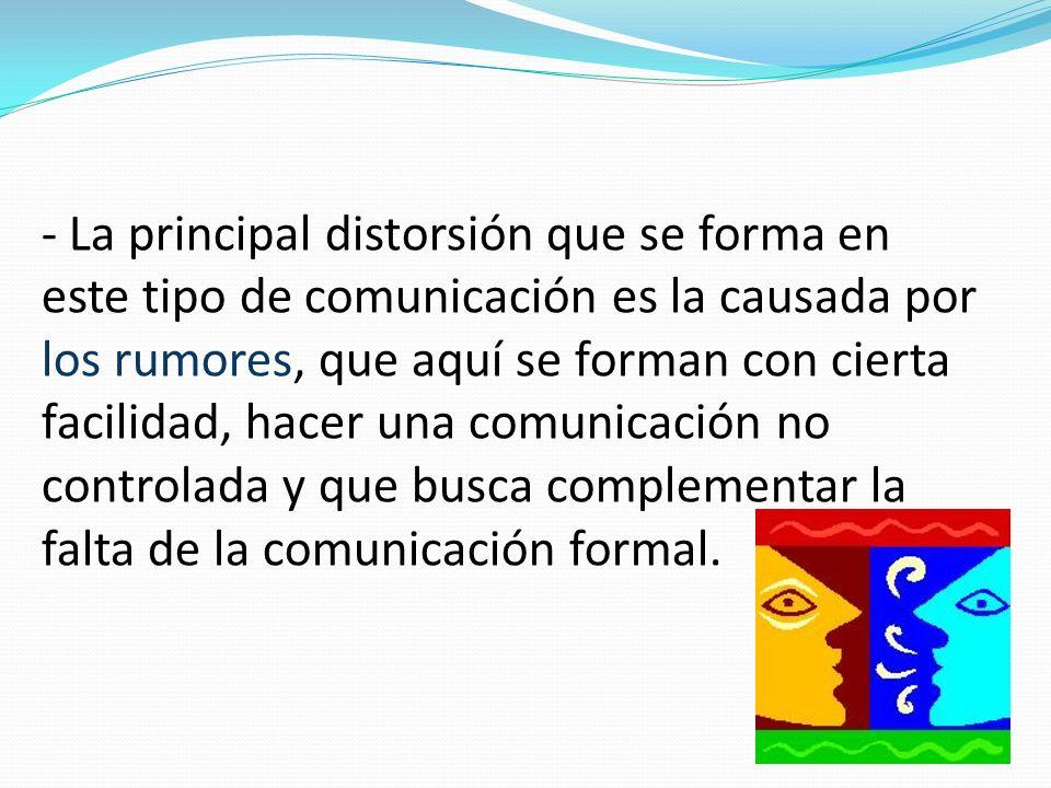 - La principal distorsión que se forma en este tipo de comunicación es la causada por los rumores, que aquí se forman con cierta facilidad, hacer una