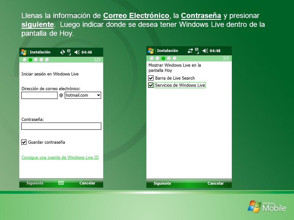 Llenas la información de Correo Electrónico, la Contraseña y presionar siguiente.