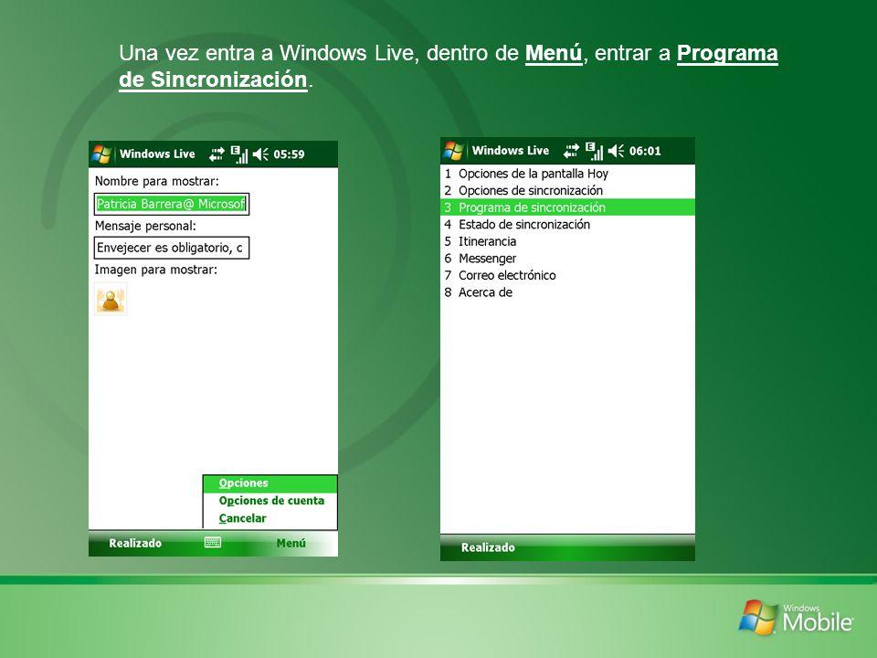Una vez entra a Windows Live, dentro de Menú, entrar a Programa de Sincronización.