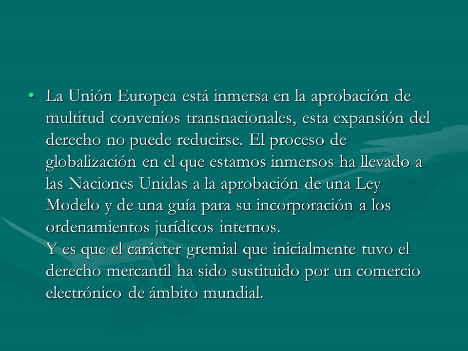 La Unión Europea está inmersa en la aprobación de multitud convenios transnacionales, esta expansión del derecho no puede reducirse.