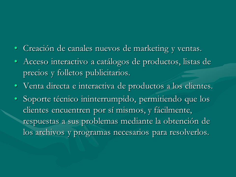 Creación de canales nuevos de marketing y ventas.Creación de canales nuevos de marketing y ventas.