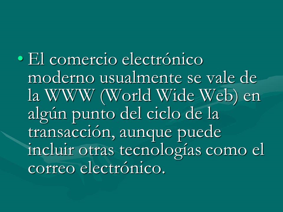 El comercio electrónico moderno usualmente se vale de la WWW (World Wide Web) en algún punto del ciclo de la transacción, aunque puede incluir otras tecnologías como el correo electrónico.El comercio electrónico moderno usualmente se vale de la WWW (World Wide Web) en algún punto del ciclo de la transacción, aunque puede incluir otras tecnologías como el correo electrónico.