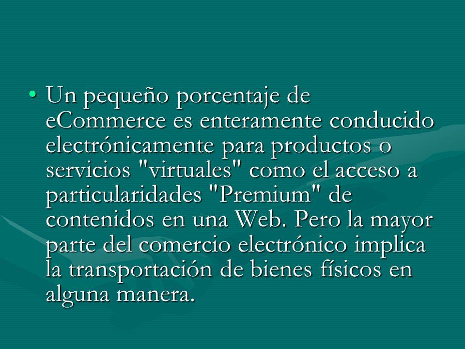 Un pequeño porcentaje de eCommerce es enteramente conducido electrónicamente para productos o servicios virtuales como el acceso a particularidades Premium de contenidos en una Web.