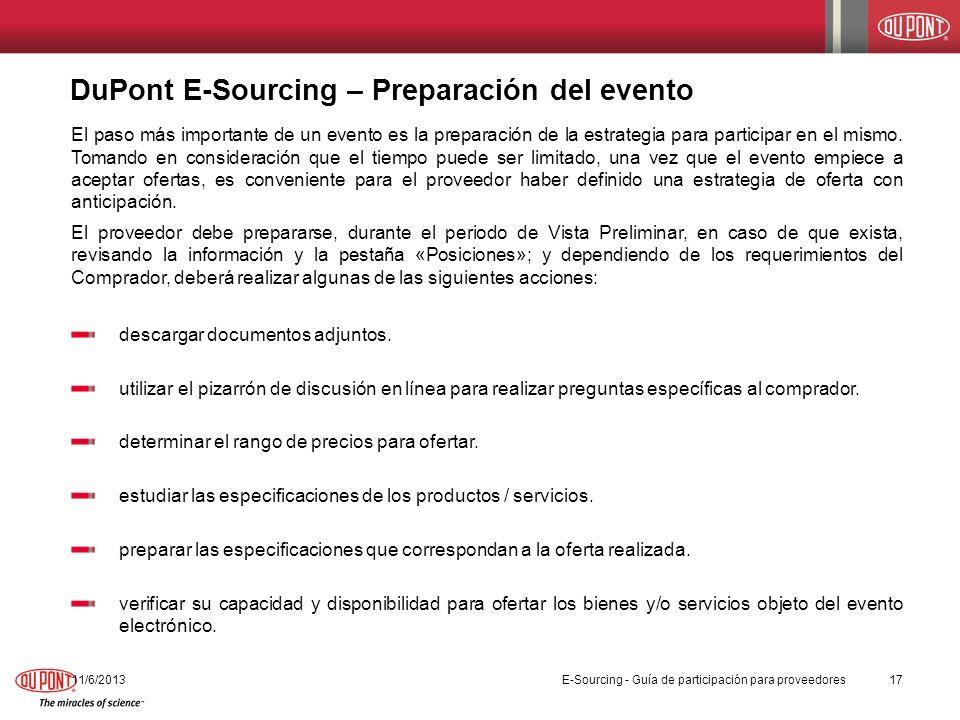 DuPont E-Sourcing – Preparación del evento 11/6/201317 El paso más importante de un evento es la preparación de la estrategia para participar en el mi