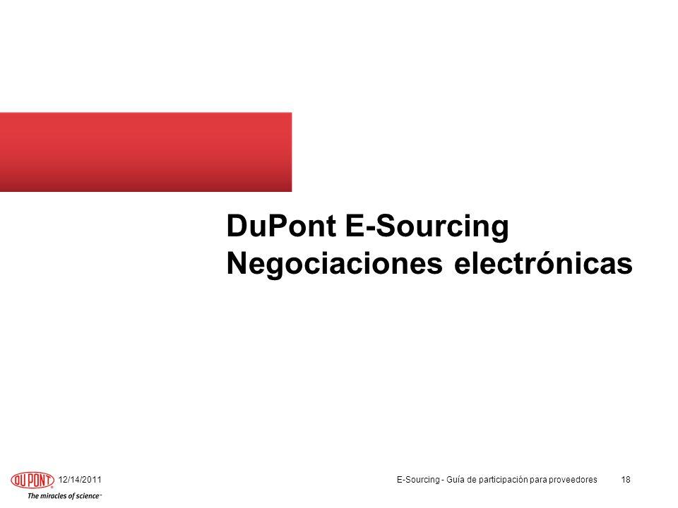 DuPont E-Sourcing Negociaciones electrónicas 12/14/201118 E-Sourcing - Guía de participación para proveedores