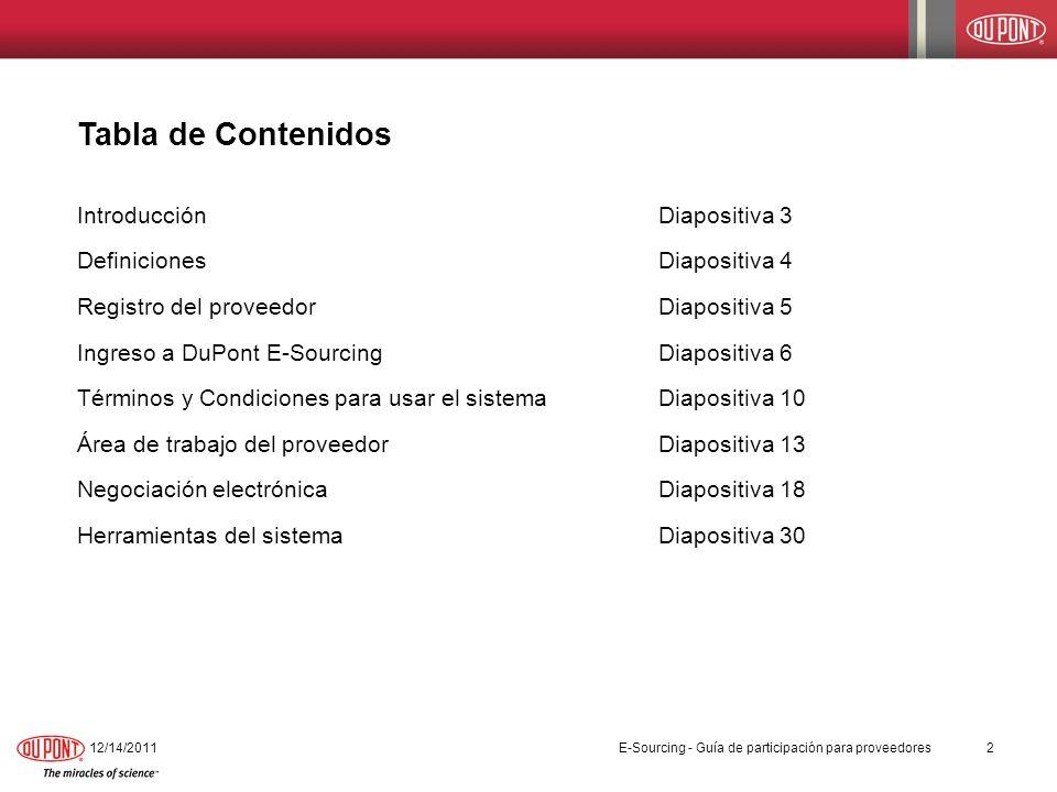 Tabla de Contenidos IntroducciónDiapositiva 3 DefinicionesDiapositiva 4 Registro del proveedorDiapositiva 5 Ingreso a DuPont E-SourcingDiapositiva 6 T