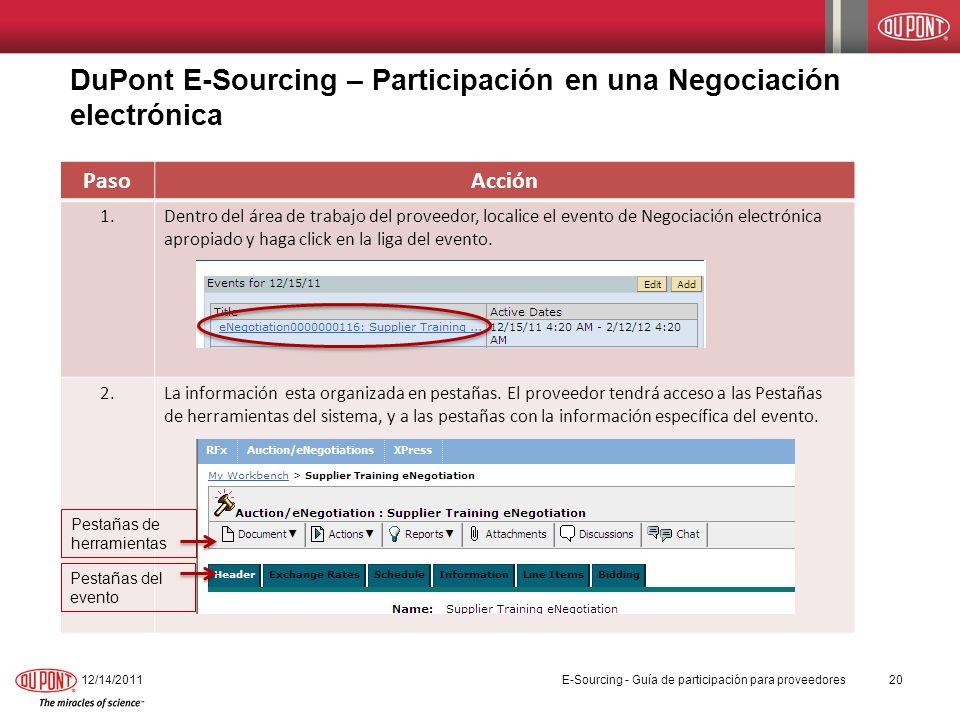 DuPont E-Sourcing – Participación en una Negociación electrónica 12/14/201120 PasoAcción 1.Dentro del área de trabajo del proveedor, localice el event