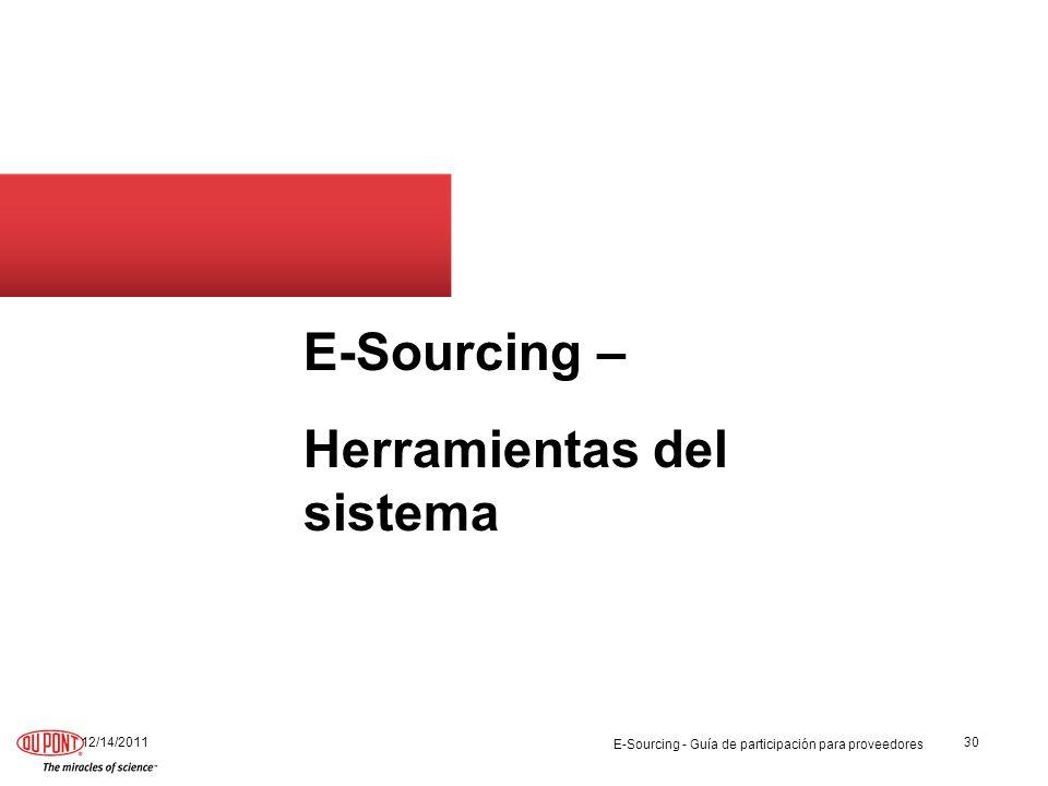 E-Sourcing – Herramientas del sistema 12/14/201130 E-Sourcing - Guía de participación para proveedores