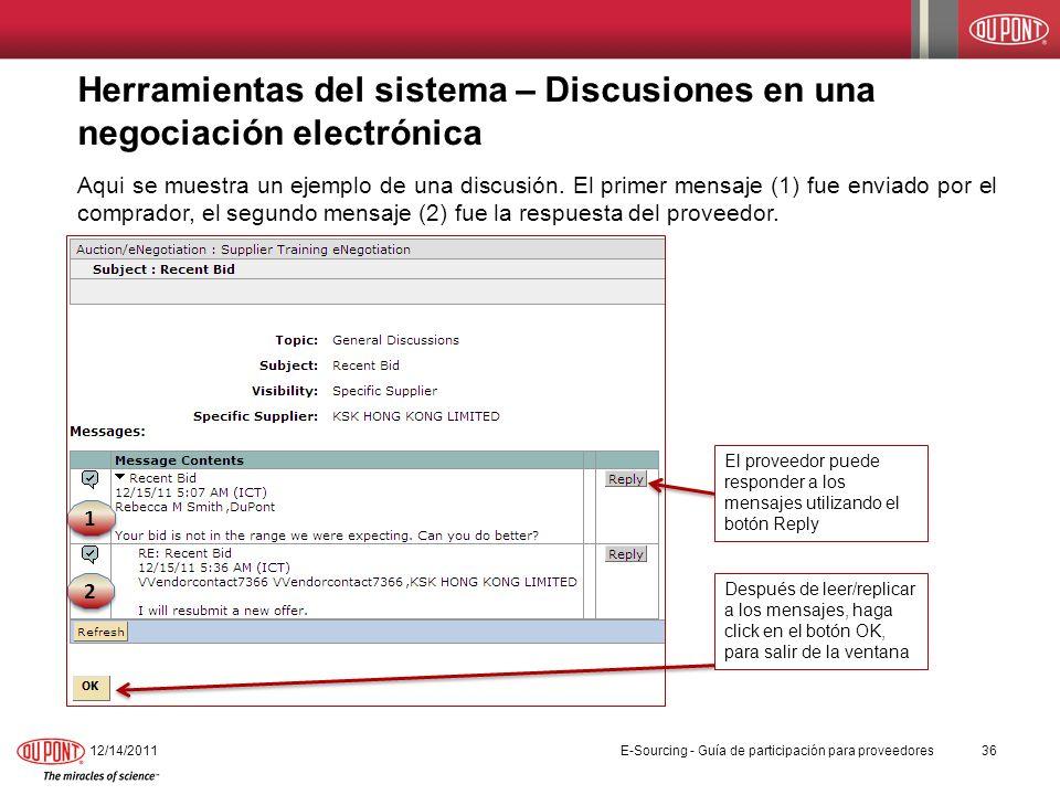 Herramientas del sistema – Discusiones en una negociación electrónica Aqui se muestra un ejemplo de una discusión. El primer mensaje (1) fue enviado p