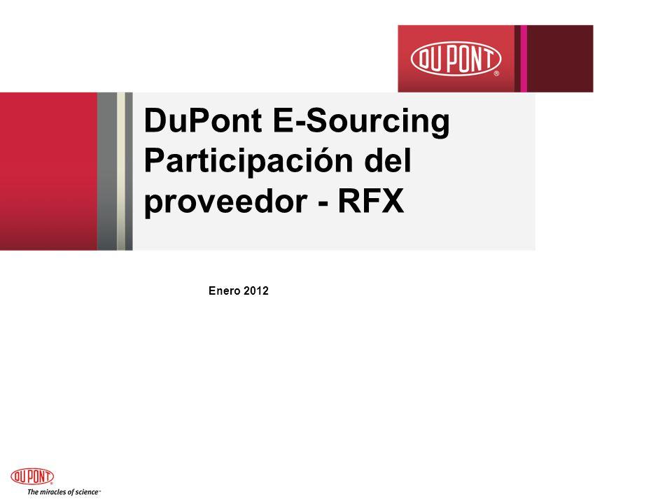 DuPont E-Sourcing Participación del proveedor - RFX Enero 2012