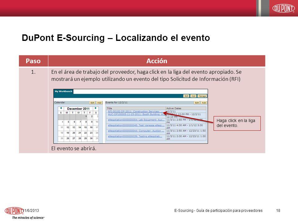 PasoAcción 1.En el área de trabajo del proveedor, haga click en la liga del evento apropiado. Se mostrará un ejemplo utilizando un evento del tipo Sol