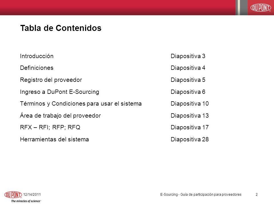 Área de trabajo del proveedor 12/14/201113 E-Sourcing - Guía de participación para proveedores