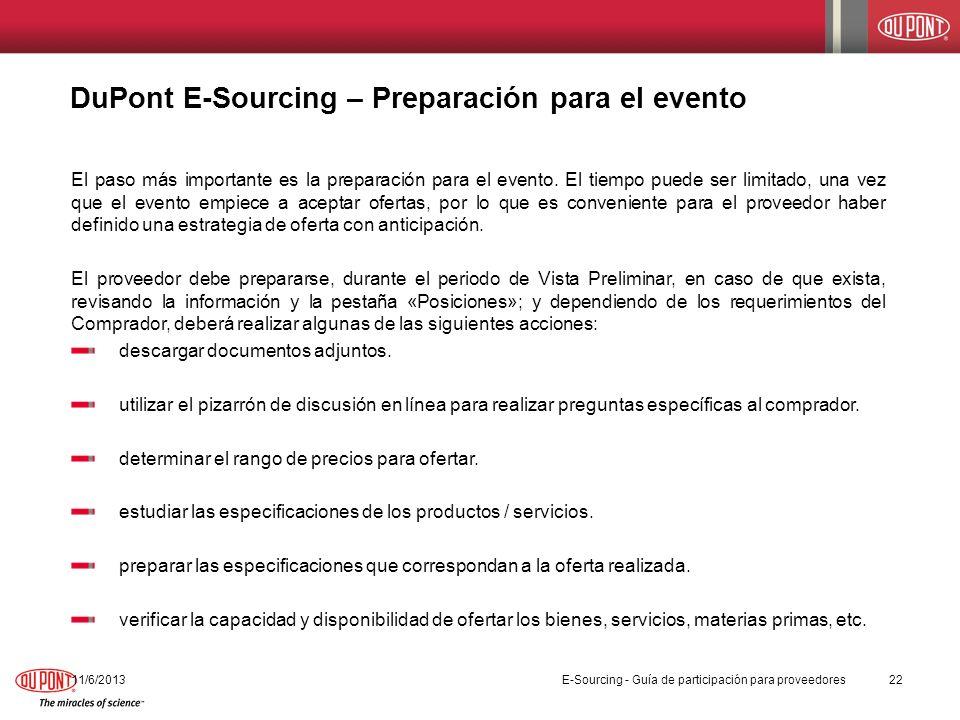 DuPont E-Sourcing – Preparación para el evento 11/6/201322 El paso más importante es la preparación para el evento. El tiempo puede ser limitado, una