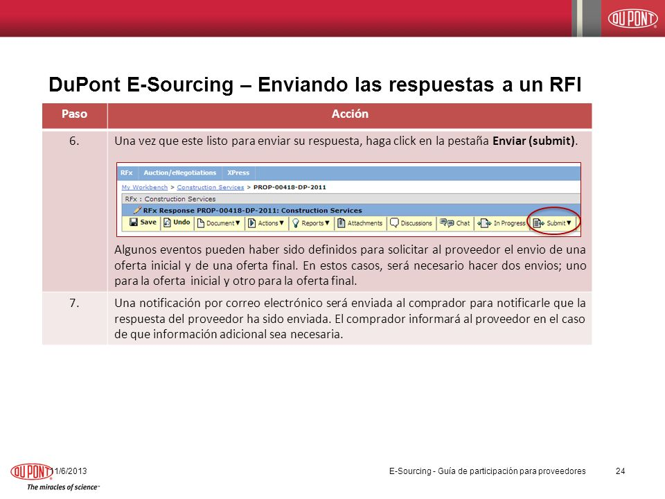DuPont E-Sourcing – Enviando las respuestas a un RFI 11/6/201324 PasoAcción 6.Una vez que este listo para enviar su respuesta, haga click en la pestañ
