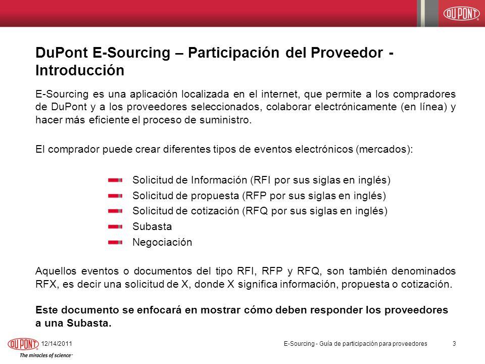 DuPont E-Sourcing – Participación del Proveedor - Introducción 12/14/20113 E-Sourcing - Guía de participación para proveedores E-Sourcing es una aplic