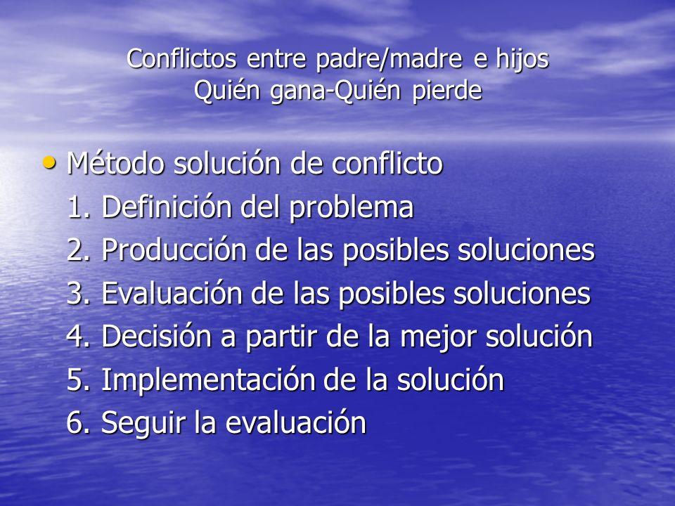 Conflictos entre padre/madre e hijos Quién gana-Quién pierde Método solución de conflicto Método solución de conflicto 1. Definición del problema 2. P