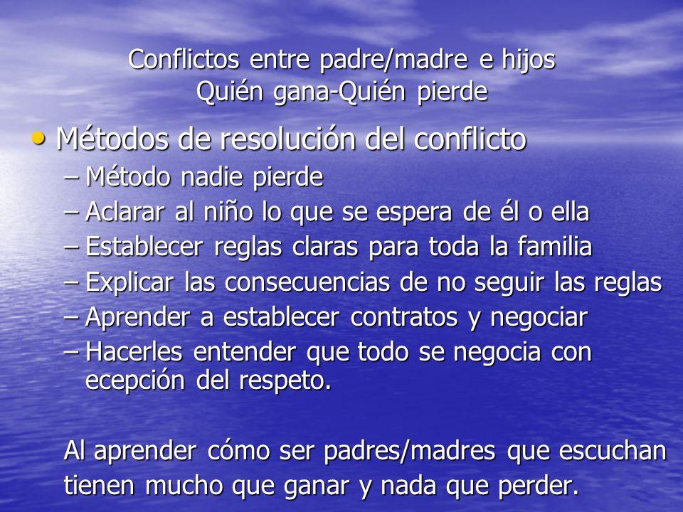 Conflictos entre padre/madre e hijos Quién gana-Quién pierde Métodos de resolución del conflicto Métodos de resolución del conflicto –Método nadie pie