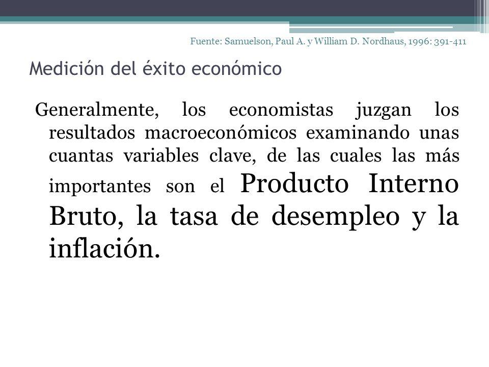 Medición del éxito económico Generalmente, los economistas juzgan los resultados macroeconómicos examinando unas cuantas variables clave, de las cuale