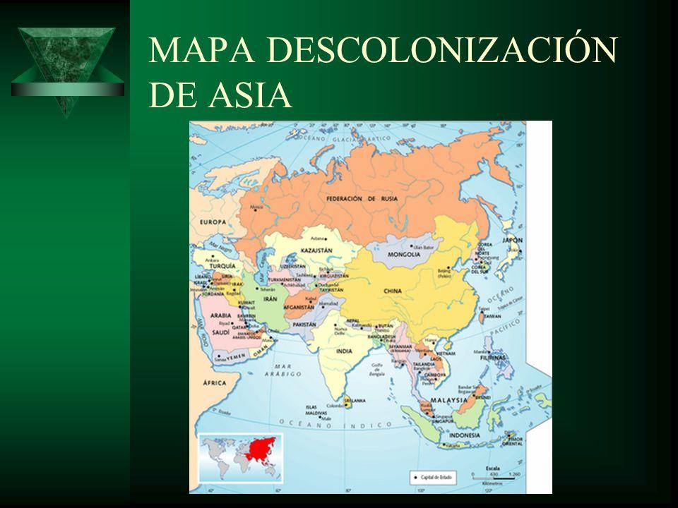 MAPA DESCOLONIZACIÓN DE ASIA