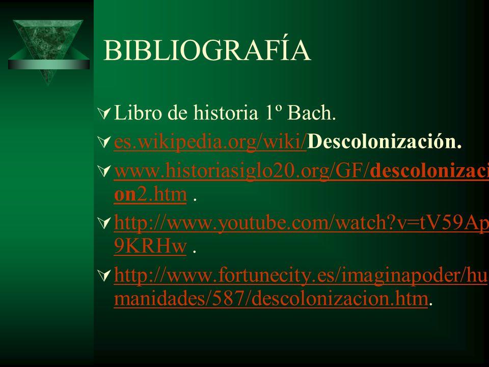 BIBLIOGRAFÍA Libro de historia 1º Bach. es.wikipedia.org/wiki/Descolonización. es.wikipedia.org/wiki/ www.historiasiglo20.org/GF/descolonizaci on2.htm