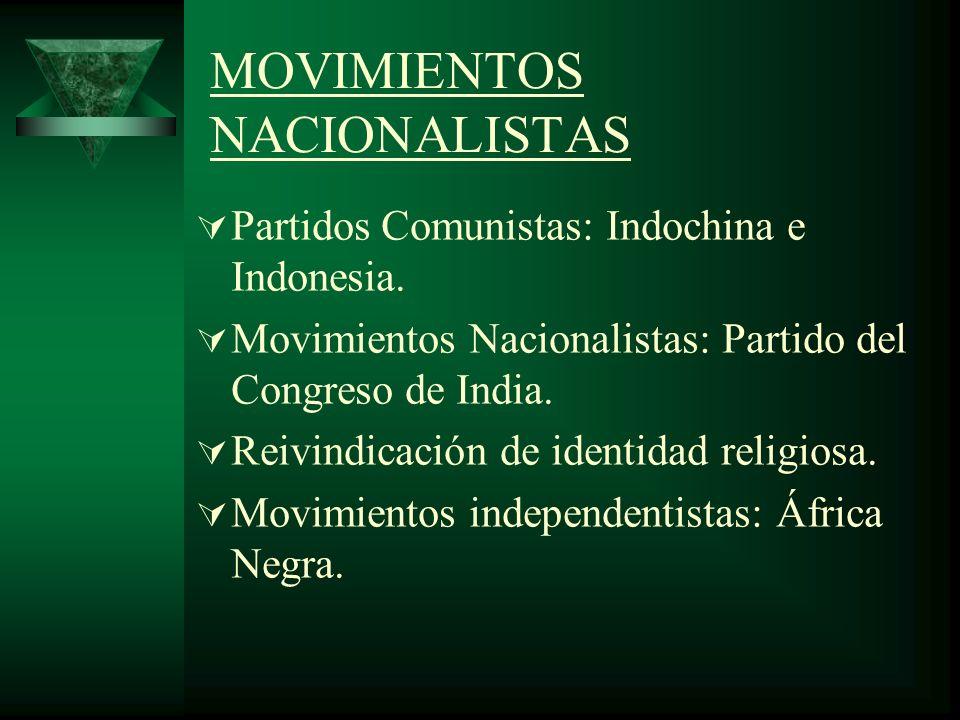 MOVIMIENTOS NACIONALISTAS Partidos Comunistas: Indochina e Indonesia. Movimientos Nacionalistas: Partido del Congreso de India. Reivindicación de iden