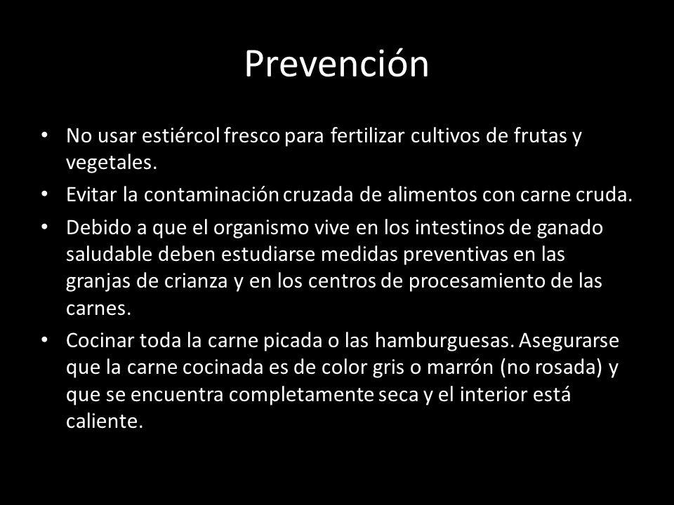 Prevención No usar estiércol fresco para fertilizar cultivos de frutas y vegetales. Evitar la contaminación cruzada de alimentos con carne cruda. Debi