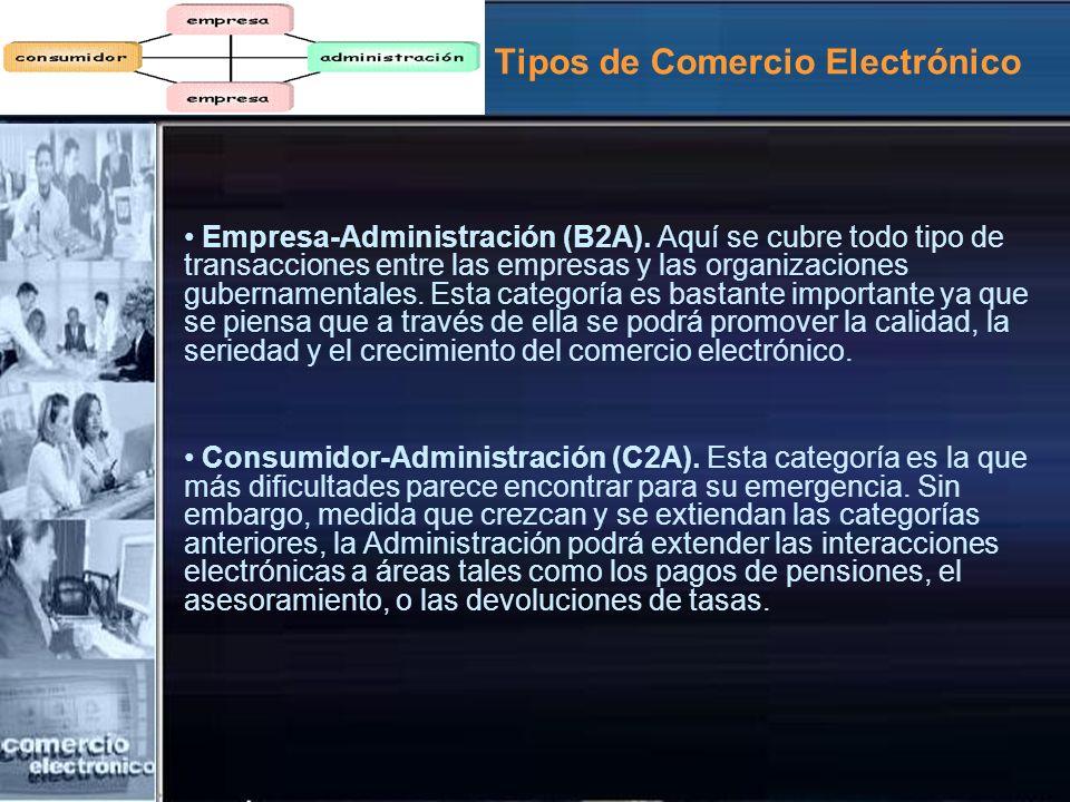Tipos de Comercio Electrónico Empresa-Administración (B2A). Aquí se cubre todo tipo de transacciones entre las empresas y las organizaciones gubername