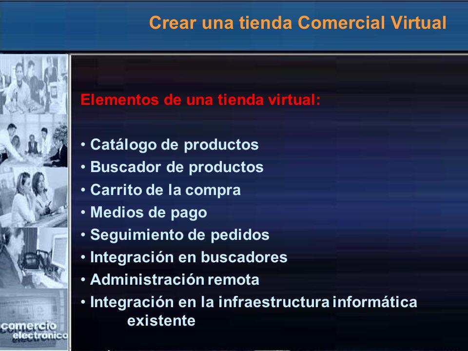 Crear una tienda Comercial Virtual Elementos de una tienda virtual: Catálogo de productos Buscador de productos Carrito de la compra Medios de pago Se