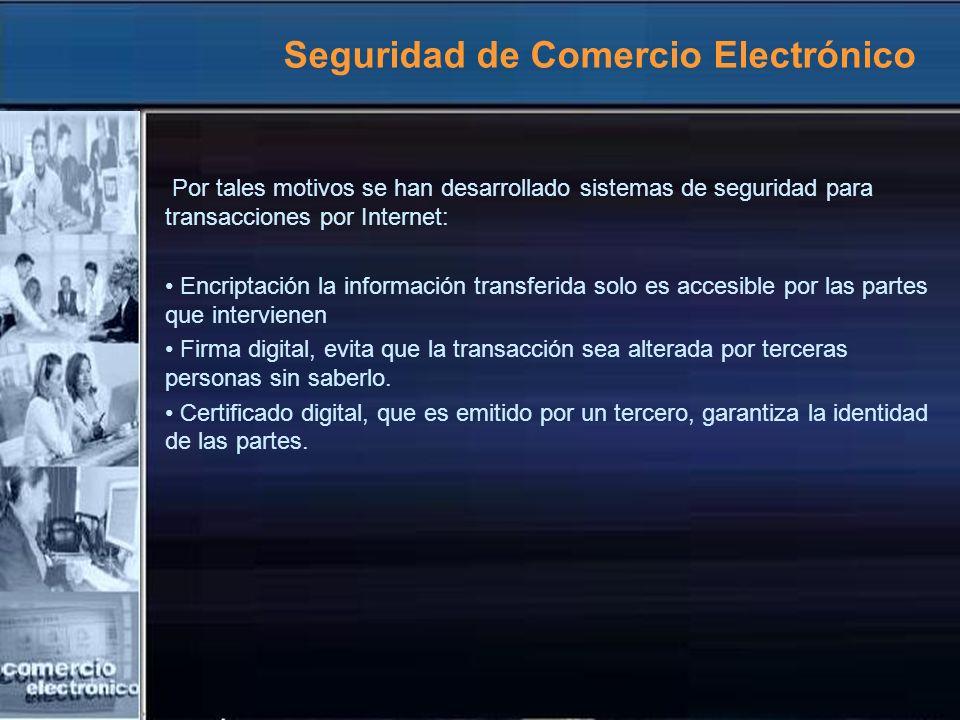 Seguridad de Comercio Electrónico Por tales motivos se han desarrollado sistemas de seguridad para transacciones por Internet: Encriptación la informa