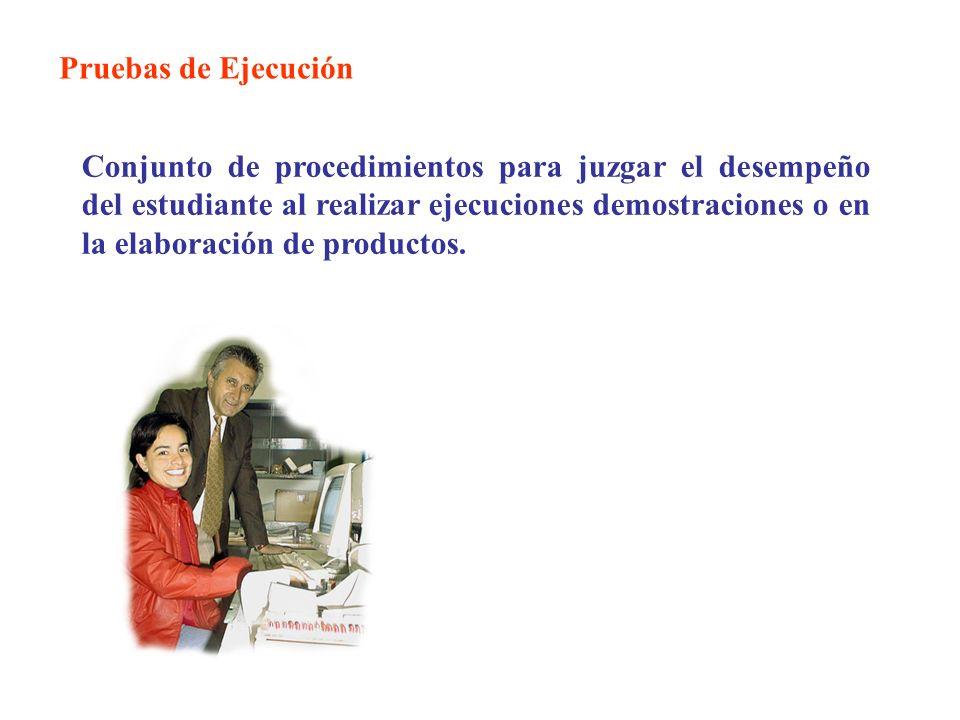 Pruebas de Ejecución Conjunto de procedimientos para juzgar el desempeño del estudiante al realizar ejecuciones demostraciones o en la elaboración de