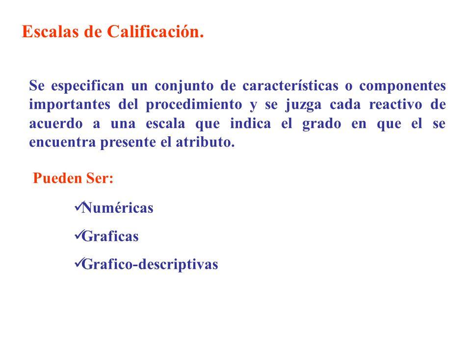 Escalas de Calificación. Se especifican un conjunto de características o componentes importantes del procedimiento y se juzga cada reactivo de acuerdo