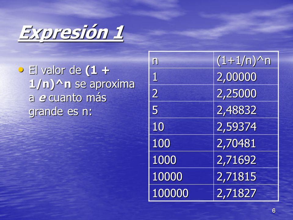 6 Expresión 1 El valor de (1 + 1/n)^n se aproxima a e cuanto más grande es n: El valor de (1 + 1/n)^n se aproxima a e cuanto más grande es n: n(1+1/n)