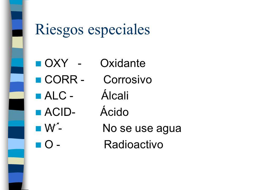 Riesgos especiales OXY - Oxidante CORR - Corrosivo ALC - Álcali ACID- Ácido W - No se use agua O - Radioactivo