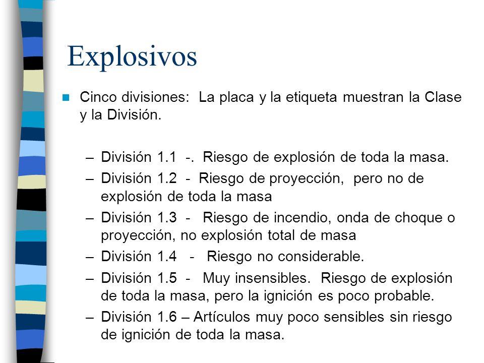 Explosivos Cinco divisiones: La placa y la etiqueta muestran la Clase y la División. –División 1.1 -. Riesgo de explosión de toda la masa. –División 1