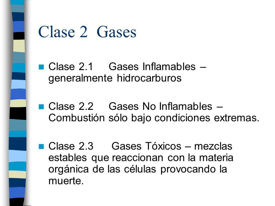 Clase 2 Gases Clase 2.1 Gases Inflamables – generalmente hidrocarburos Clase 2.2 Gases No Inflamables – Combustión sólo bajo condiciones extremas. Cla
