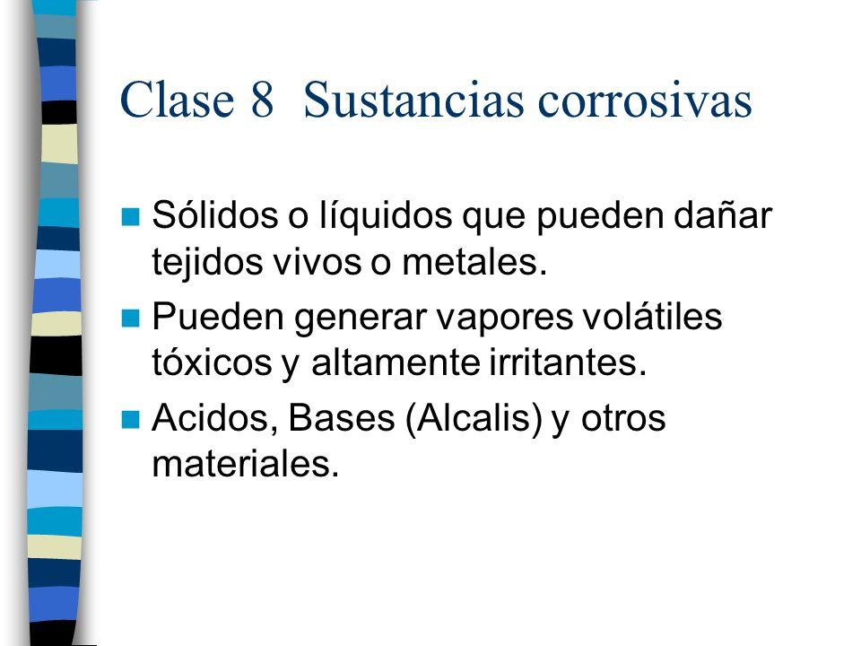 Clase 8 Sustancias corrosivas Sólidos o líquidos que pueden dañar tejidos vivos o metales. Pueden generar vapores volátiles tóxicos y altamente irrita
